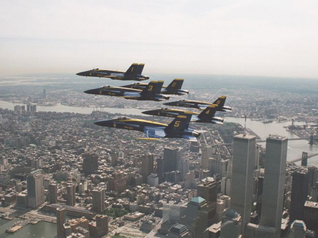 The Blue Angels over the Twin Towers