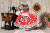 sugar bush squirrel sewing machine red dress